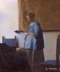Woman in Blue Reading a Letter, 1663 by Jan Vermeer
