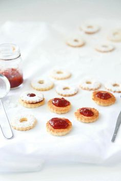 Linzer cookies with strawberry jam filling