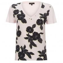 Paul Smith T-Shirts - Pink Jersey and Silk T-Shirt With Miami Beach Floral Print