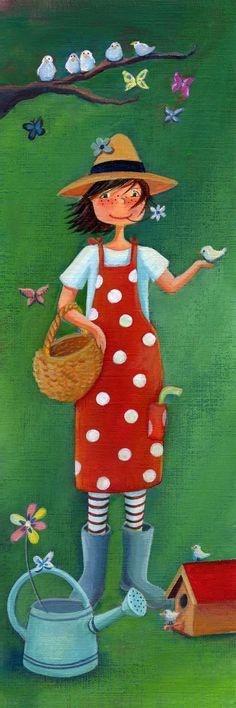 Being outside, working around in the yard, gardening Folk Art, Native American Art, Illustration, Drawings, Flower Art, Cute Art, Whimsical Art, Art, Childrens Art