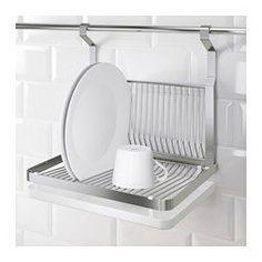 IKEA - GRUNDTAL, Égouttoir à vaisselle, Se suspend au rail GRUNDTAL pour libérer de la place sur le plan de travail.Plateau amovible en dessous : recueille l'eau de l'égouttoir.