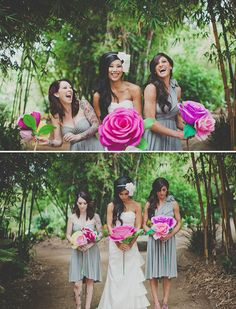 20 Ideas for Alternative Wedding Bouquets: These beautiful roses are actually made from thick rolls of ribbon. Check out this DIY tutorial to learn how to make your own bouquet of ribbon roses. : Instead of a cluster of smaller paper flowers, why not go with one or two statement flowers? These over-sized paper flowers brighten the wedding party's neutral attire and add a whimsical quality.