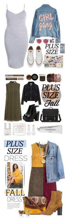 """""""Winners for Fall Look: Plus Size Dresses"""" by polyvore ❤ liked on Polyvore featuring Boohoo, High Heels Suicide, Converse, Le Specs, Anya Hindmarch, Elvi, Zizzi, Nails Inc., Herbivore and Simone Rocha"""