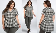 Image result for plus gingham top