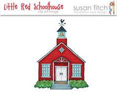 Little Red School House Clip Art Image
