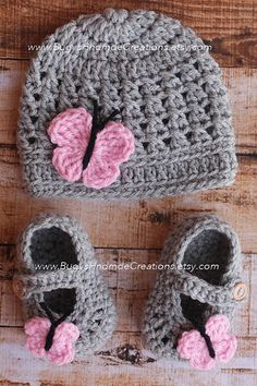 Crochet Butterfly Hat and Butterfly Shoes by BugysHndmdeCreations, $38.00