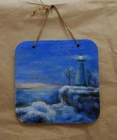 """Lake Erie at sunset, OH, 2015, Original Acrylic Painting on a 5.5 x 5.5"""" plywood plaque, gift wrapped. This is a small realistic painting, 5.5""""x5.5""""x0.2"""" (not a print!) I painted this scene just because I like lighthouses, and it is a tribute to one extremely nice person from Ohio who just prompted me this topic :) The painting is covered with a glossy varnish, signed on the back, comes with a blue fabric gift bag, and can be a perfect gift to someone who loves the Great Lakes or..."""