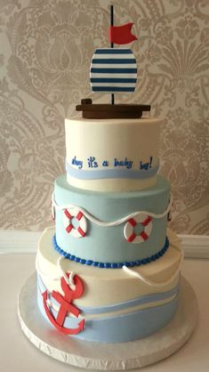 Nautical Cake...block With Something Different On Each Side (anchor, Whale,  Wheel, Boat) | Baby Shower | Pinterest | Nautical Cake