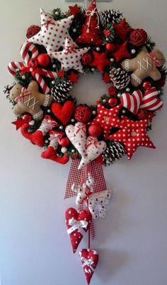 Patchwork Christmas Ornaments Navidad 32 Ideas For 2019 Christmas Makes, Noel Christmas, Homemade Christmas, Winter Christmas, Christmas Wreaths, Christmas Decorations, Christmas Ornaments, Burlap Christmas, Heart Decorations