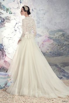 papilio 2016 bridal three quarter sleeves high neck heavily embellished lace bodice tulle skirt a  line high low wedding dress chapel train (1629 turkana) bv