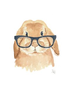 Rabbit Watercolor Original Art Bunny Painting by WaterInMyPaint