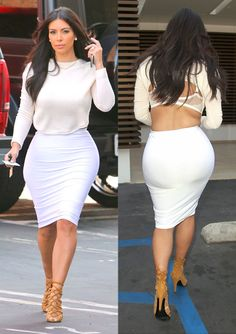 Kim Kardashian steps out in a bra-baring all-white ensemble.