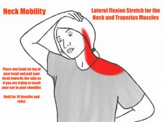 Neck Mobility - Lateral Flexion Stretch for the Neck and Trapezius Muscles Neck And Shoulder Exercises, Posture Exercises, Neck And Shoulder Pain, Neck Stretches, Shoulder Workout, Shoulder Tension, Massage Tips, Massage Benefits, Massage Therapy