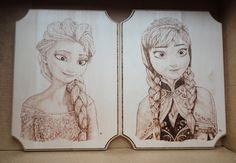 "Frozen Princesses, 9"" x 12"" Wood Burning, April 2014 www.geekburning.com Facebook: https://www.facebook.com/GeekBurning"