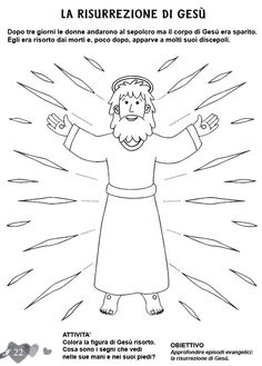 L'ANGOLO: disegni da colorare Easter Story, Jesus Resurrection, Bible Activities, Easter Crafts, Sunday School, Lettering, Embroidery, Education, Disney Characters