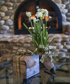 Paperwhite Kit | Four fragrant paperwhite bulbs arrive planted in a rustic wood box. Once watered, growing paperwhites fill a room with their enticing fragrance. A great gift for friends and family far away.