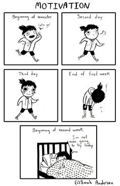 This comic not only follows my actual work out routine, but represents my stamina and motivation during school in general.