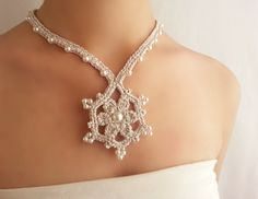 Collar colgante  Collar plata perlas de boda Joyería Victoriana Collar original Gargantilla estilo Vintage Collar crochet