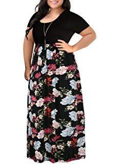 e9cc9f73e05 Nemidor Women s Chevron Print Summer Short Sleeve Plus Size Casual Maxi  Dress  womendressescasualsimple  dressesforwomenwithbigstomachs