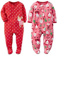 afb093e9e Carter's Baby Girls 2 Pack Fleece Zip Up Christmas Holiday Footie Pajamas