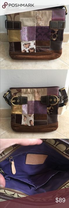 Coach patchwork  crossbody bag 👜Authentic Coach bag. Adjustable leather strap can be used for crossbody or shoulder bag. Patchwork design in various colors. This has been one of my favorite purses. It has a very clean inside but some areas outside need a little TLC.  💕 Coach Bags Crossbody Bags