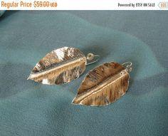 ON SALE Handmade fold formed silver leaf by DianaShyeJewelry