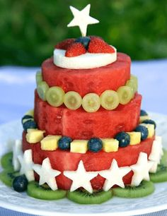 Stars and stripes fruit cake  Perfectly Patriotic 4th Of July Foods • Page 5 of 5 • BoredBug