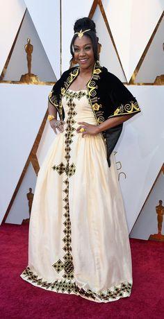 Tiffany Haddish in traditional Eritrean dress - Oscars 2018 Tiffany Haddish, Eritrean, Oscar Dresses, Red Carpets, Oscars, Saree, Traditional, Fashion, Red Rugs