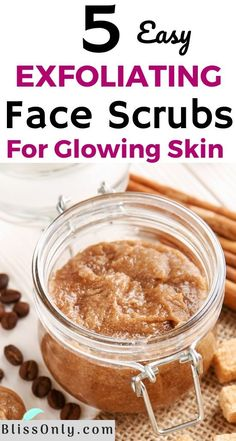 5 DIY Exfoliating Face Scrub Recipes For Clear & Glowing Skin - BlissOnly Have you been applying expensive chemi. Diy Exfoliating Face Scrub, Diy Face Scrub, Sugar Scrub Diy, Face Scrub Homemade, Diy Scrub, Homemade Facials, Homemade Skin Care, Diy Skin Care, Homemade Facial Scrubs