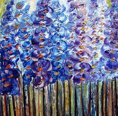 Oil Painting Modern Blue Flowers Impasto Palette by LUIZAVIZOLI, $175.00