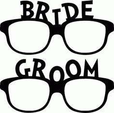 Silhouette Online Store - View Design #43318: bride groom glasses photo booth prop