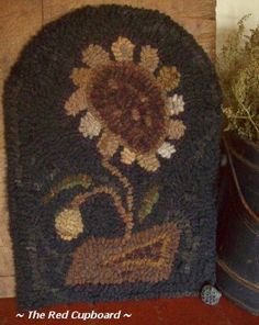 Primitive Hand Hooked Rug Prim Flower The Red by Theredcupboard. I want to punch needle this pattern