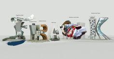 Tipografías 3D Cris Labrooy frank gehry 2class= #3D #design #poster