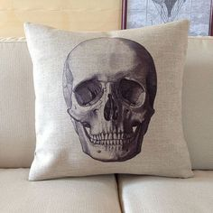 "1 cotton linen cool Skull Pillow Case / retro style home decor cushion case 18"" on Etsy, $20.00"