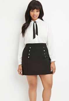 Plus Size Button-Front Ribbed Skirt | Forever 21 PLUS - 2000179928