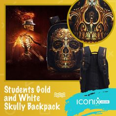 Students Gold and White Skully Backpack