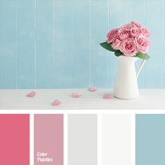 "Delicate shades of ""dusty"" pink colour combine perfectly with dark blue and white. This palette is perfect for such a style in design as ""Shabby chic"".."