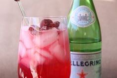 2/3 san pellegrino, 1/3 cranberry juice and ice. refreshing for sure.