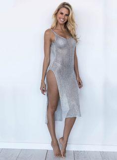 High Slit Bikini Cover up Knitted Beachwear - OASAP.com