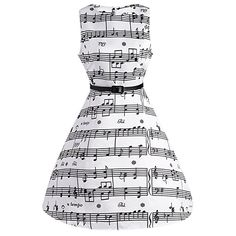 CharMma Women's Vintage 1950 Audrey Hepburn Music Note Print Swing Party Dress at Amazon Women's Clothing store: