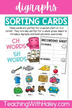 Are your students struggling to read and write words with beginning and ending digraphs? This packet is perfect to introduce and reinforce digraphs in centers, small groups, or independent work.The following digraphs are covered in this pack: CH, SH, TH, WH, PH, KN, WR, CK, NG | Teacher Resources Elementary | First Grade Printables | Lesson Plans for ELA |