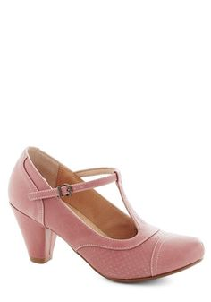 Just Like Honey Heel in Rose by Chelsea Crew - Pink, Solid, Vintage Inspired, 20s, 30s, Mid, Party, Work, Pastel, Faux Leather, Variation
