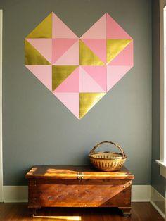 Corazón geométrico para decorar la pared   Decoración Hogar, Ideas y Cosas Bonitas para Decorar el Hogar