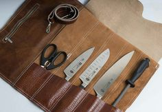 Leather kniferoll  Best gift for chef.