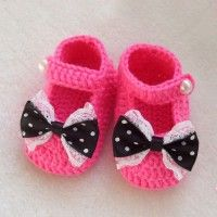 Rose Red Crochet Pattern Baby Princess Handmade Shoes with Black Bowtie