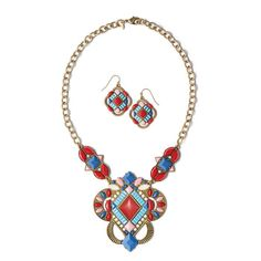 Tribal style statement necklace in burnished brass with red, light blue, periwinkle, pink and white stones arranged in an intricate design. Includes matching earrings. Regularly $24.99, shop Avon Jewelry online at http://eseagren.avonrepresentative.com