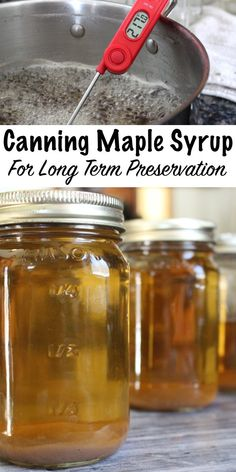 Canning Maple Syrup for Long Term Preservation - - Maple syrup, if stored in glass jars and properly canned, should last indefinitely. Canning Tips, Home Canning, Canning Recipes, Homemade Maple Syrup, Maple Syrup Recipes, Canning Syrup, Vegan Banana Bread, Dehydrated Food, Pure Maple Syrup
