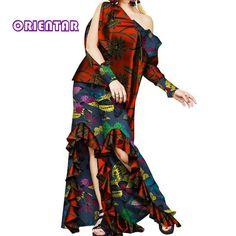 Dashiki African Clothes for Women Ruffles Petal Long Sleeve Tops and Pants Bazin Riche African Print Leg Pants Set African Dashiki Dress, Latest African Fashion Dresses, African Clothes, African Dresses For Women, Beautiful African Women, Women Sleeve, Traditional Outfits, Long Sleeve Tops, Clothes For Women