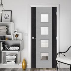 Bespoke Door - Flush Dark Grey Panel - American Light Grey Ash Veneer.    #greydoor #glazeddoor