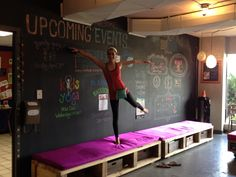 chalkboard wall in yoga studio